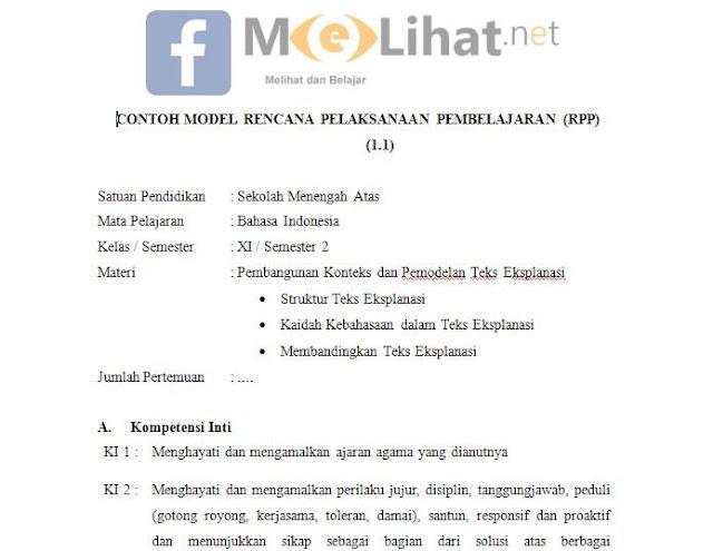 RPP Bahasa Indonesia SMA, MA Kurikulum 2013 Kelas XI-11 Terbaru
