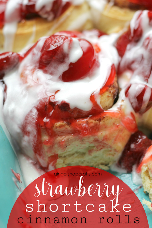 Strawberry Shortcake Cinnamon Rolls at GingerSnapCrafts.com