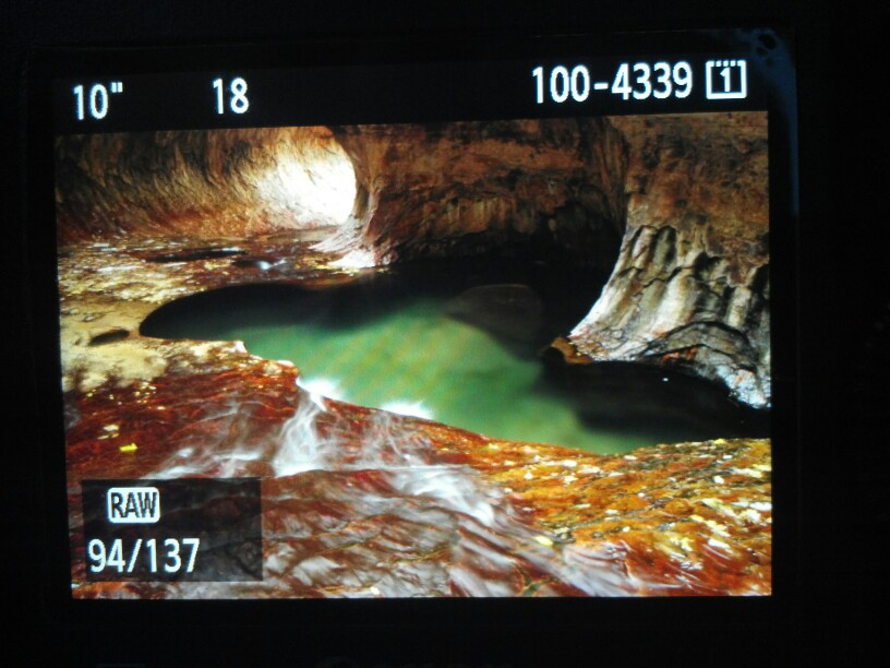 The Subway in Zion National Park from the back of a DSLR
