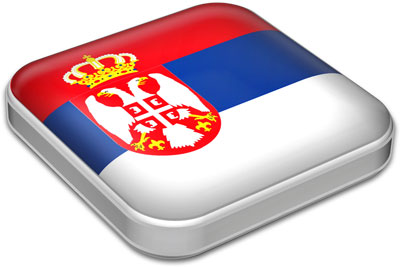 Flag of Serbia with metallic square frame