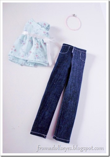 Cute new top and jeans for a ball jointed doll, with patterns.