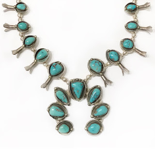 Turquoise & Silver Squash Blossom Necklace