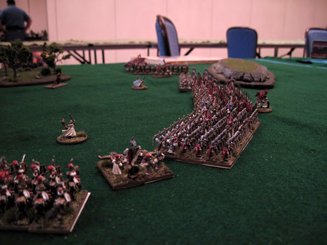 Some woods made a bottle neck, and Orcs charging through got arrows for their trouble.