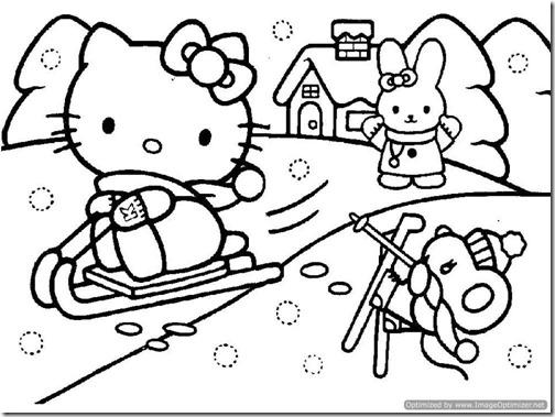 Hello Kitty navidad para colorear