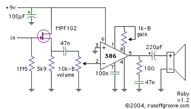 perfboard 9v mini guitar amp circuit