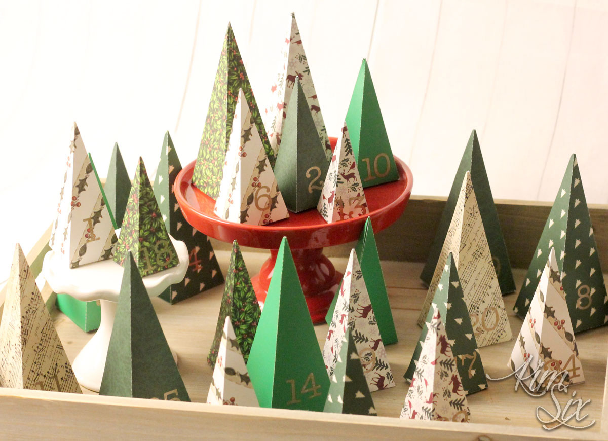 Folded paper christmas tree countdown calendar