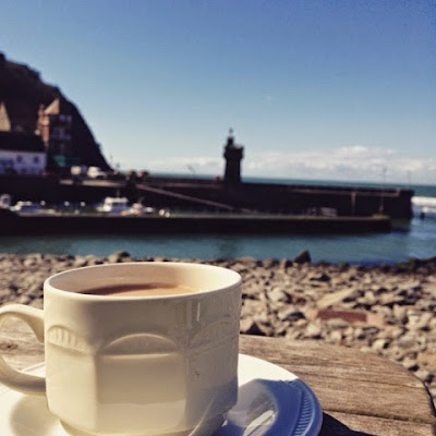 A cup of tea overlooking Lynmouth harbour