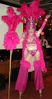 Pink Show Girl on Stilts