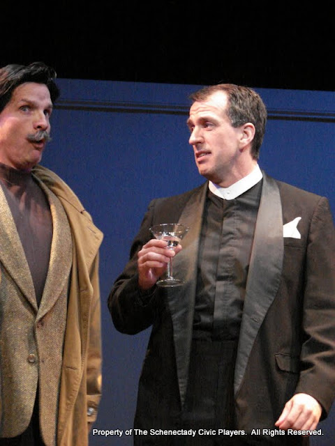 """Marty O'Connor and Tim Orcutt in """"Mystery at Twicknam Vicarage"""" as part of THE IVES HAVE IT - January/February 2012.  Property of The Schenectady Civic Players Theater Archive."""