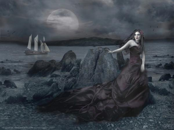 Girl On The Seasid At Night, Gothic