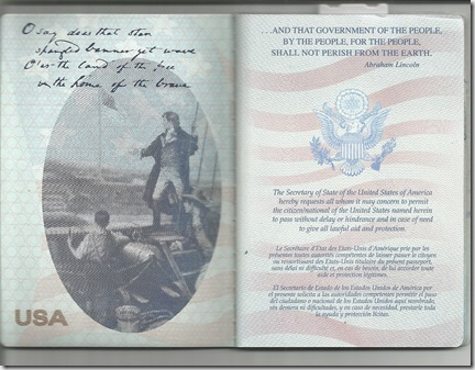 passport inside page