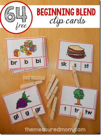 FREE 64 Blends Clip Cards - these are great for kids learning phonics, sounding out words in Kindergarten, first grade, and 2nd grade. (blends activities, blends activities free, blends activities first grade)