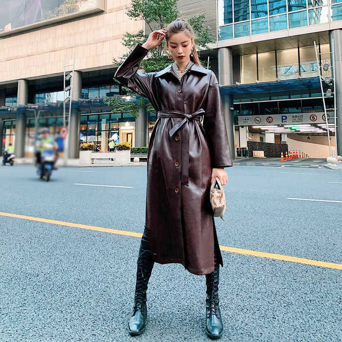 Leather raincoats 36
