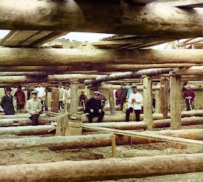 Строительство плотины в Белоомуте, Московская губерния, 1912 год (Сергей Михайлович Прокудин-Горский)