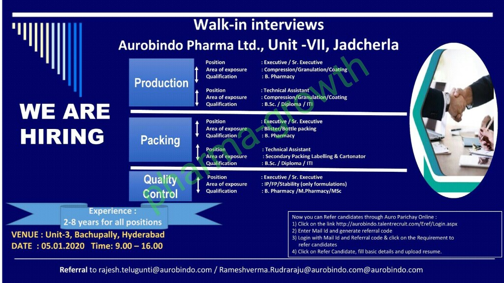 Aurobindo Pharma Pvt Ltd – Walk in interview for Production, Packing, Quality Control on 5th Jan 2020