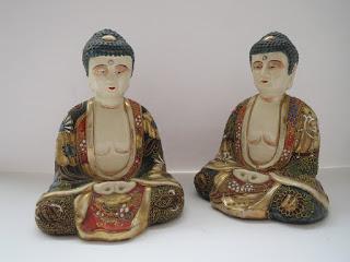 Ceramic Japanese Buddha Pair