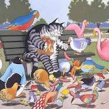 Кот кормит птиц сосисками - от души самым любимым:)