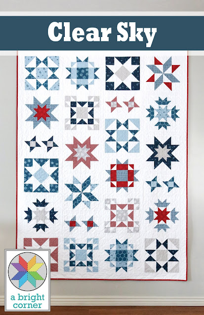 Clear Sky quilt pattern by Andy of A Bright Corner - a throw size modern star quilt