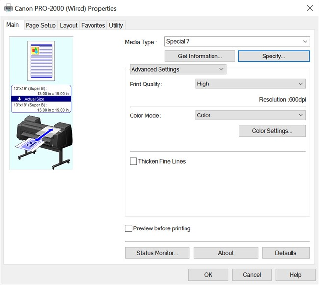 Canon PRO-2000 Main settings for Hahnemühle Rice Paper on Windows