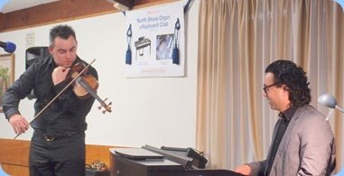Our guest artists, Nick Jones (violin) and Ben Fernandez (Clavinova). Photo courtesy of Dennis Lyons.