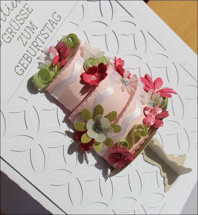 3D Cake Torte Hochzeit Geburtstag Wedding Birthday Quilling Flowers Card Karte 9