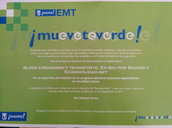 enbicipormadrid ganador de uno de los premios 'Muévete Verde 2015'