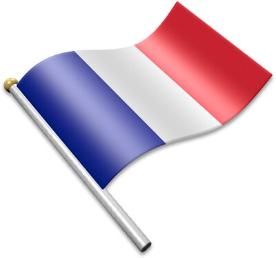 The French flag on a flagpole clipart image