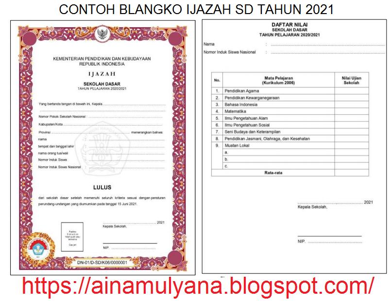 Contoh dan Juknis Pengisian atau Penulisan Blangko Ijazah SD Tahun 2021