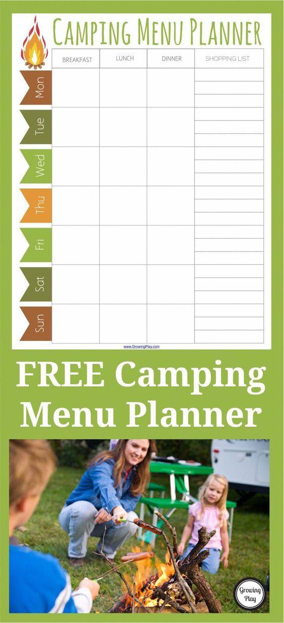 Camping Menu Planner - FREE Printable