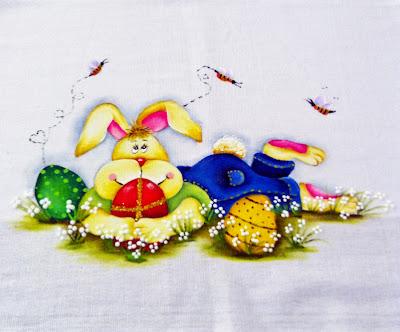 """""""pintura de pascoa coelhinho com ovos"""""""