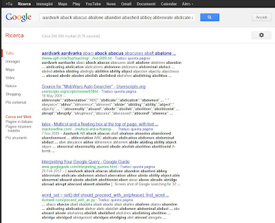 Screen shot of Google searching for 32 words.