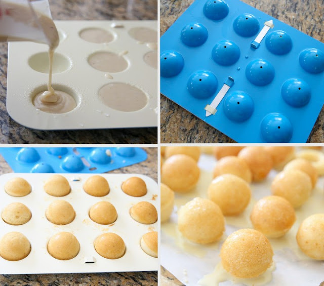 photo collage showing how to use a cake ball pan to make the donuts