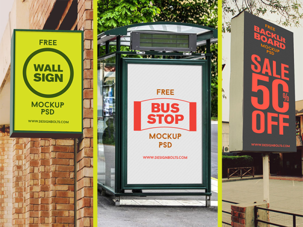 Free High Quality Outdoor Advertising Poster Frame Mockup PSD