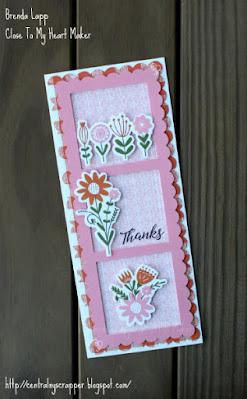 Slimline card with stamps from Hillside Cottage Cardmaking Workshop Kit