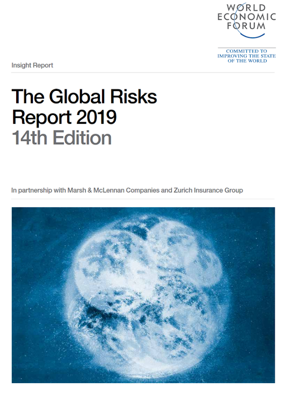 "Cover of the World Economic Forum report, ""Global Risks Report 2019"". Graphic: WEF"
