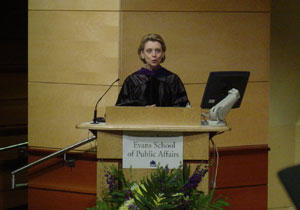 Photo of the graduation speaker, Governor Chris Gregoire at Graduation on June 9, 2006. Photo by Nick Peyton.