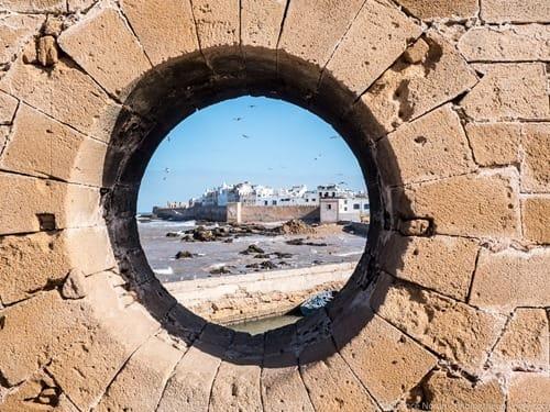 Circular hole wall Essaouira Morocco