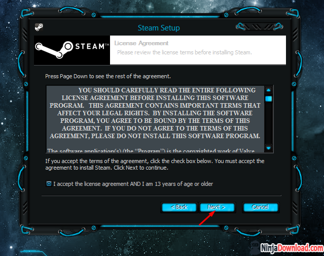 accept steam license