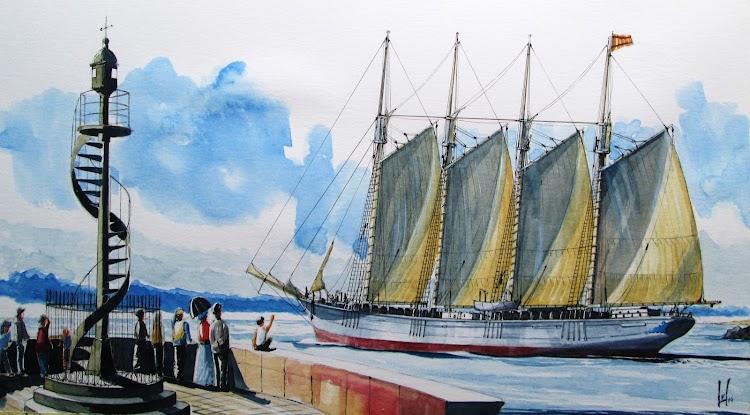 Pailebote VIRGEN DE LOS MILAGROS zarpando de Vinaroz. Copyrigth El Ilustrador de Barcos. Prohibida su reproducción.jpg