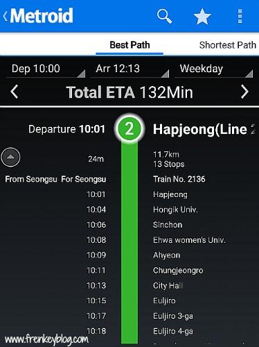 Rute Subway Hapjeong - Wangsimni