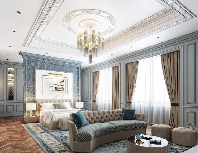 Mẫu thiết kế nội thất phòng ngủ tân cổ điển kết hợp nhiều khu vực chức năng