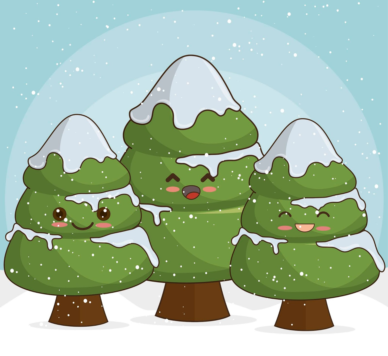 Snowy Christmas Trees Snow Free Download Vector CDR, AI, EPS and PNG Formats