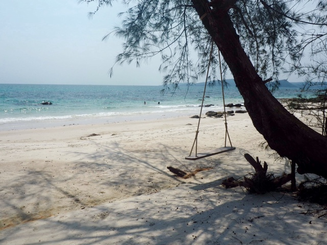Swing on a sandy beach by the ocean | Nature Beach, Koh Rong, Cambodia
