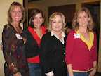 Valerie Skinner, Chi Omega president Mandy Smiley, Joy Brandon and Barb Stephens