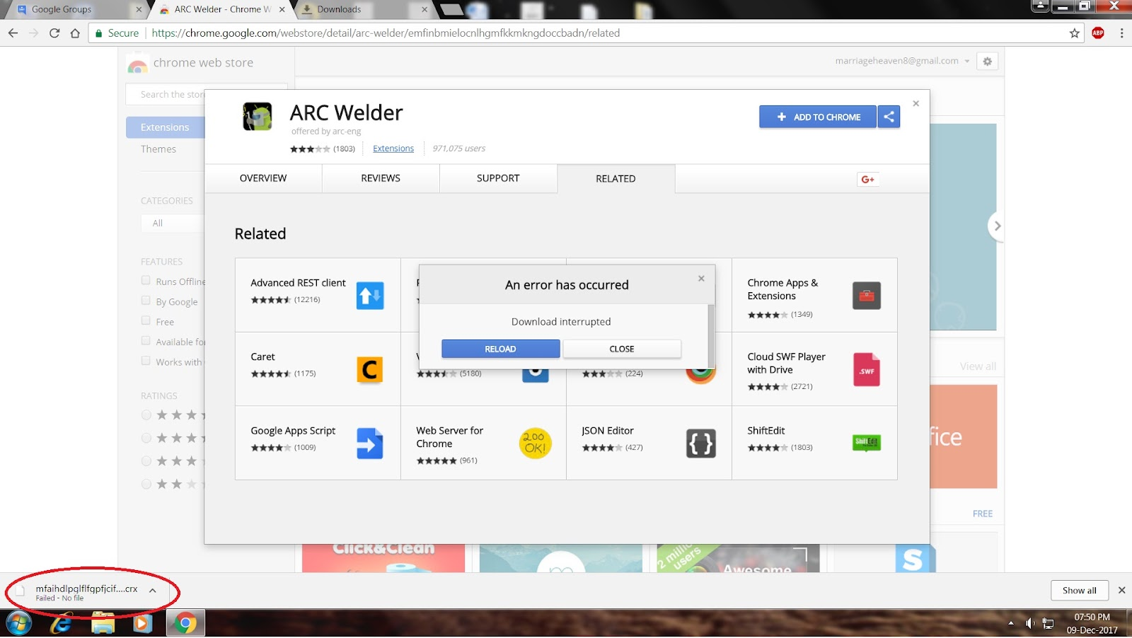 Cannot download any exe file or app from chromestore - Google
