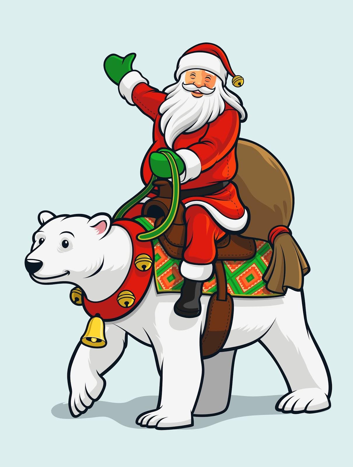 Santa Claus Riding Polar Bear Free Download Vector CDR, AI, EPS and PNG Formats