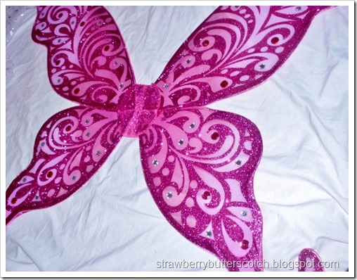 Glittery fairy wings from Joann Fabric and Crafts, added more rhinestones to customize them.