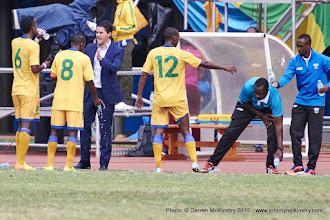 Photo: Coach McKinstry speaks to players from the sideline [Rwanda Vs Ghana AFCON2017 Qualifier, 5 Sep 2015 in Kigali, Rwanda.  Photo © Darren McKinstry 2015