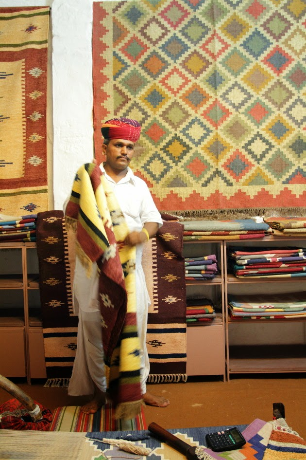 At a traditional carpet shop in Jodhpur