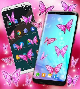 Pink Sparkly Butterflies on Screen - náhled